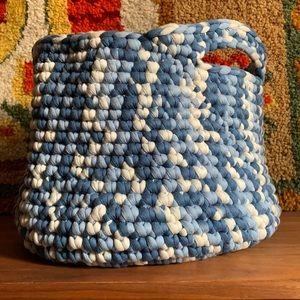 Blue Ombré Crocheted Cloth Basket